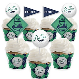 Par-Tee Time - Golf - Cupcake Decorations - Birthday or Retirement Party Cupcake Wrappers and Treat Picks Kit - Set of 24