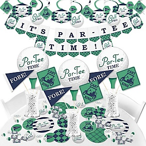 Par-Tee Time - Golf - Birthday or Retirement Party Supplies - Banner Decoration Kit - Fundle Bundle
