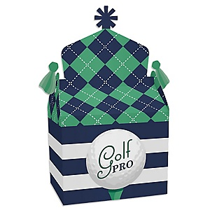 Par-Tee Time - Golf - Treat Box Party Favors - Birthday or Retirement Party Goodie Gable Boxes - Set of 12