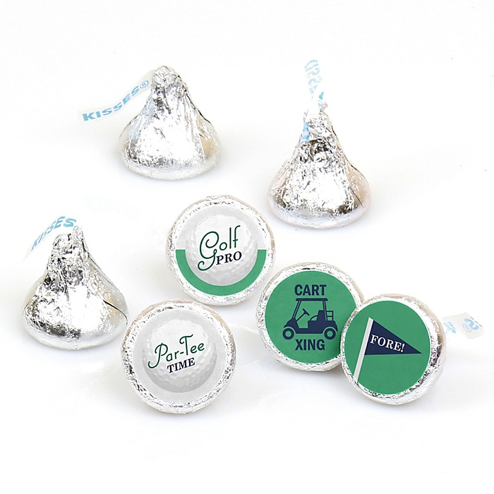 Par-Tee Time - Golf - Round Candy Labels Birthday or Retirement Party Favors - Fits Hershey Kisses - 108 ct