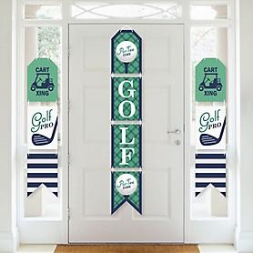 Par-Tee Time - Golf - Hanging Vertical Paper Door Banners - Birthday or Retirement Party Wall Decoration Kit - Indoor Door Decor