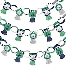 Par-Tee Time - Golf - 90 Chain Links and 30 Paper Tassels Decoration Kit - Birthday or Retirement Party Paper Chains Garland - 21 feet