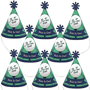 Par-Tee Time - Golf  - Mini Cone Baby Shower or Birthday Party Hats - Small Little Party Hats - Set of 8
