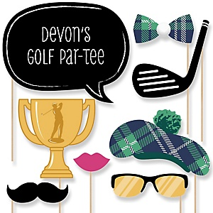 Par-Tee Time - Golf - Baby Shower Photo Booth Props Kit - 20 Props
