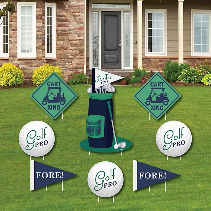 Par-Tee Time - Golf - Yard Sign & Outdoor Lawn Decorations - Birthday or Retirement Party Yard Signs - Set of 8