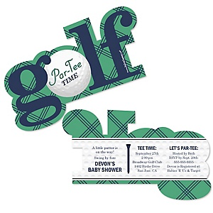 Par-Tee Time - Golf - Shaped Baby Shower Invitations - Set of 12