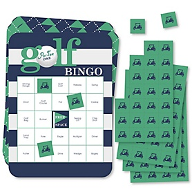 Par-Tee Time - Golf Bingo Cards and Markers - Birthday or Retirement Party Bingo Game - Set of 18