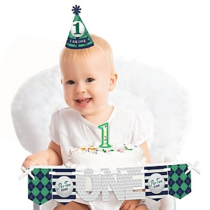 Par-Tee Time - Golf 1st Birthday - First Birthday Boy or Girl Smash Cake Decorating Kit - High Chair Decorations