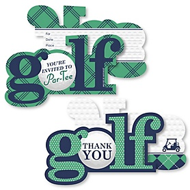 Par-Tee Time - Golf - 20 Shaped Fill-In Invitations and 20 Shaped Thank You Cards Kit - Birthday or Retirement Party Stationery Kit - 40 Pack