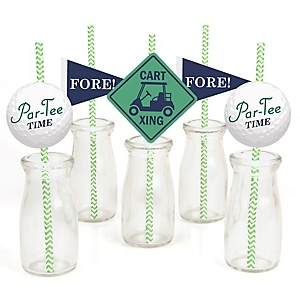 Par-Tee Time - Golf - Paper Straw Decor - Birthday or Retirement Party Striped Decorative Straws - Set of 24