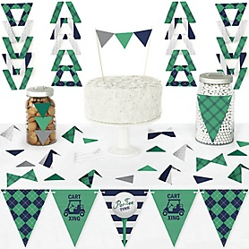 Par-Tee Time - Golf - DIY Pennant Banner Decorations - Birthday or Retirement Party Triangle Kit - 99 Pieces