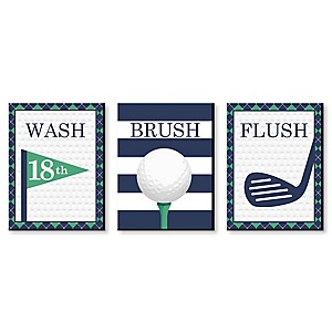 Tee Time - Golf - Kids Bathroom Rules Wall Art - 7.5 x 10 inches - Set of 3 Signs - Wash, Brush, Flush