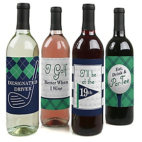 Par-Tee Time - Golf - Birthday or Retirement Party Decorations for Women and Men - Wine Bottle Label Stickers - Set of 4
