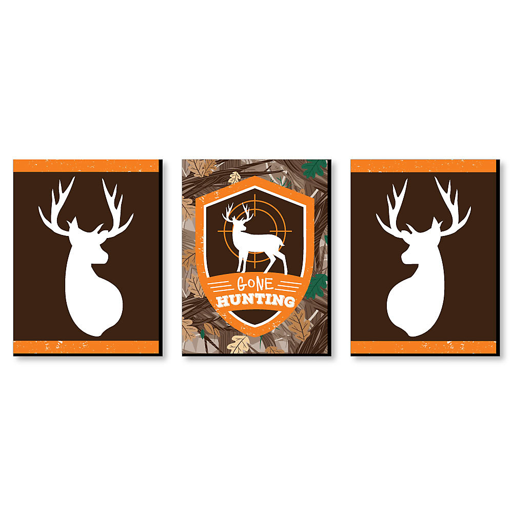 Gone Hunting Deer Hunting Decorations Camo Wall Art And Man Cave Decor 7 5 X 10 Inches Set Of 3 Prints