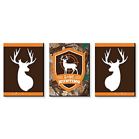 Gone Hunting - Deer Hunting Decorations, Camo Wall Art and Man Cave Decor - 7.5 x 10 inches - Set of 3 Prints