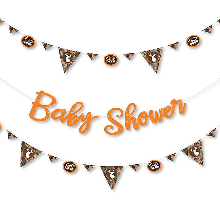 Gone Hunting - Deer Hunting Camo Baby Shower Letter Banner Decoration - 36 Banner Cutouts and Baby Shower Banner Letters