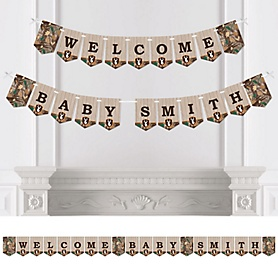 Gone Hunting - Personalized Deer Hunting Camo Baby Shower Bunting Banner and Decorations