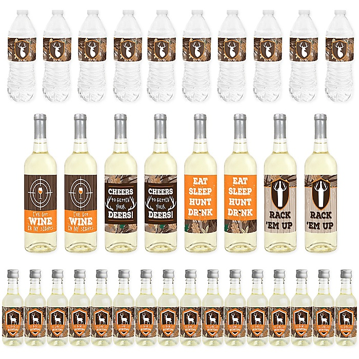 Gone Hunting - Mini Wine Bottle Labels, Wine Bottle Labels and Water Bottle Labels - Deer Hunting Camo Baby Shower or Birthday Party Decorations - Beverage Bar Kit - 34 Pieces
