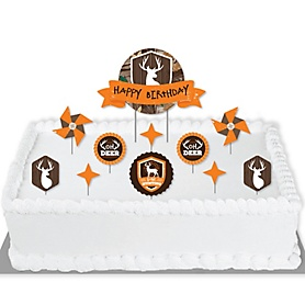 Gone Hunting - Deer Hunting Camo Birthday Party Cake Decorating Kit - Happy Birthday Cake Topper Set - 11 Pieces