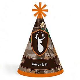 Gone Hunting - Personalized Cone Happy Birthday Party Hats for Kids and Adults - Set of 8 (Standard Size)
