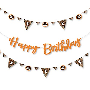 Gone Hunting - Deer Hunting Camo Birthday Party Letter Banner Decoration - 36 Banner Cutouts and Happy Birthday Banner Letters