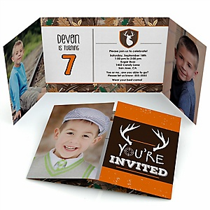 Gone Hunting - Personalized Deer Hunting Camo Birthday Party Photo Invitations - Set of 12