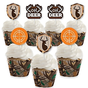 Gone Hunting - Cupcake Decoration - Deer Hunting Camo Party Cupcake Wrappers and Treat Picks Kit - Set of 24