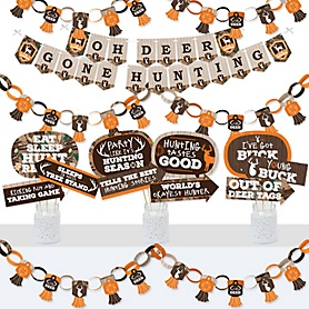 Gone Hunting - Banner and Photo Booth Decorations - Deer Hunting Camo Baby Shower or Birthday Party Supplies Kit - Doterrific Bundle