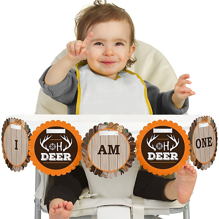 Gone Hunting 1st Birthday - I am One - First Birthday High Chair Banner