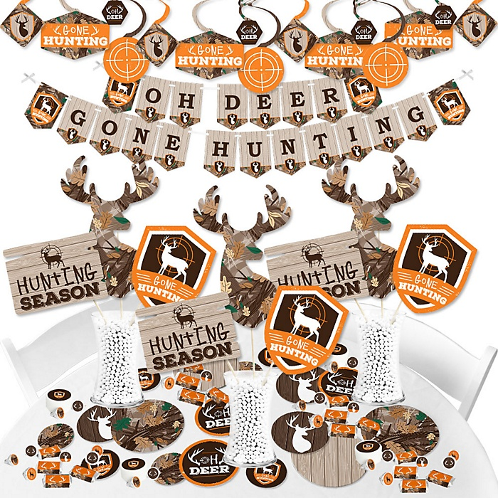Gone Hunting - Deer Hunting Camo Baby Shower or Birthday Party Supplies - Banner Decoration Kit - Fundle Bundle