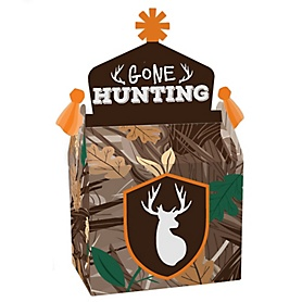 Gone Hunting - Treat Box Party Favors - Deer Hunting Camo Baby Shower or Birthday Party Goodie Gable Boxes - Set of 12