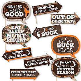 Funny Gone Hunting - 10 Piece Deer Hunting Camo Party Photo Booth Props Kit