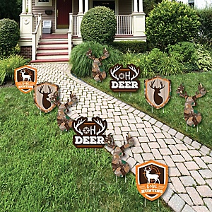 Gone Hunting - Lawn Decorations - Outdoor Deer Hunting Camo Baby Shower or Birthday Party Yard Decorations - 10 Piece