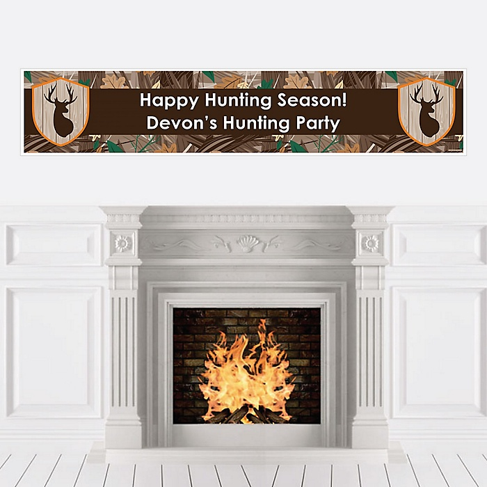 Gone Hunting - Personalized Deer Hunting Camo Party Banner