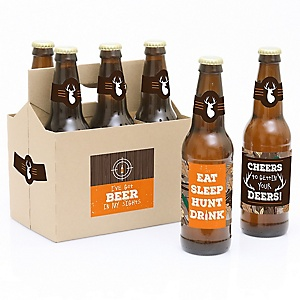 Gone Hunting - Decorations for Women and Men - 6 Deer Hunting Camo Birthday Party Beer Bottle Label Stickers and 1 Carrier