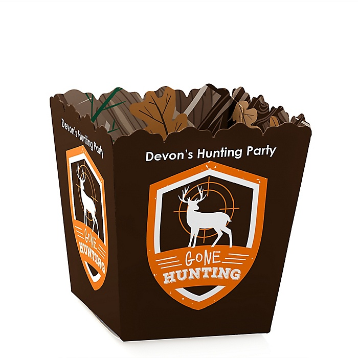 Gone Hunting - Party Mini Favor Boxes - Personalized Deer Hunting Camo Party Treat Candy Boxes - Set of 12