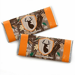 Gone Hunting - Personalized Candy Bar Wrapper Deer Hunting Camo Party Favors - Set of 24