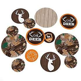 Gone Hunting - Deer Hunting Camo Party Giant Circle Confetti - Party Decorations - Large Confetti 27 Count