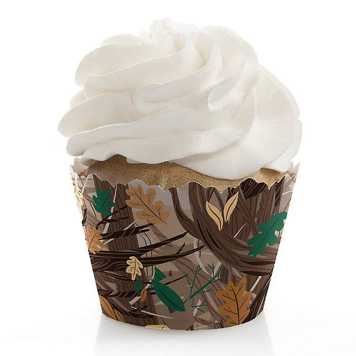 Gone Hunting - Deer Hunting Camo Party Decorations - Party Cupcake Wrappers - Set of 12