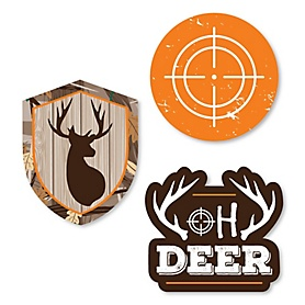 Gone Hunting - DIY Shaped Deer Hunting Camo Party Cut-Outs - 24 ct