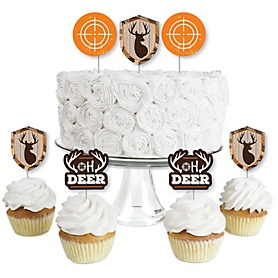 Gone Hunting - Dessert Cupcake Toppers - Deer Hunting Camo Party Clear Treat Picks - Set of 24