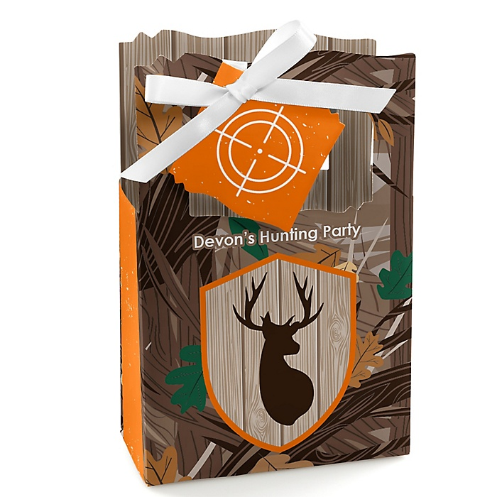 Gone Hunting - Personalized Deer Hunting Camo Party Favor Boxes - Set of 12