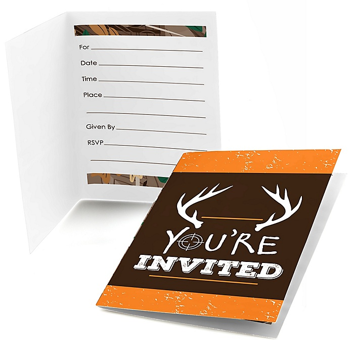 Gone Hunting - Fill In Deer Hunting Camo Party Invitations - 8 ct
