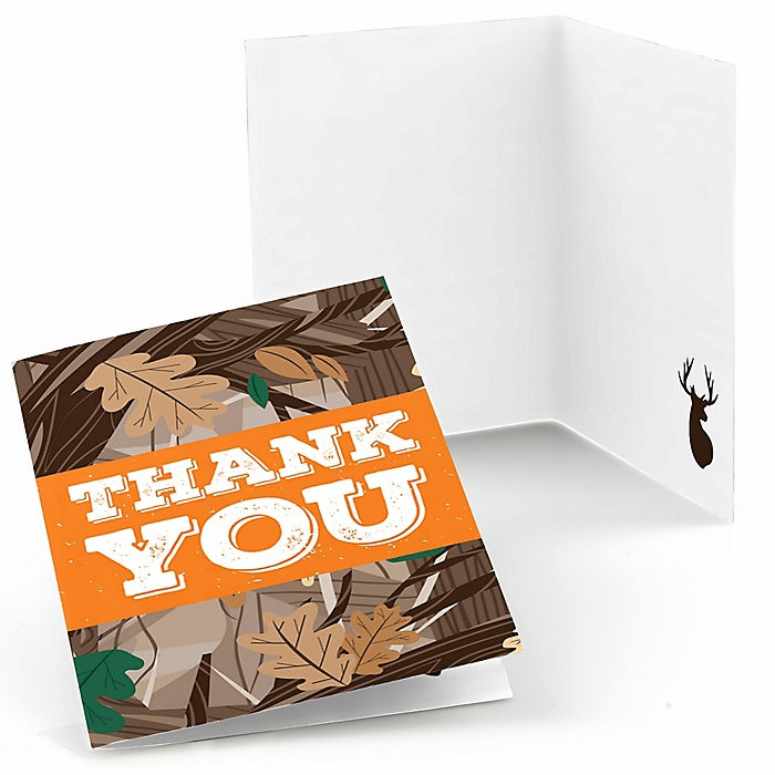 Gone Hunting - Deer Hunting Camo Party Thank You Cards - 8 ct