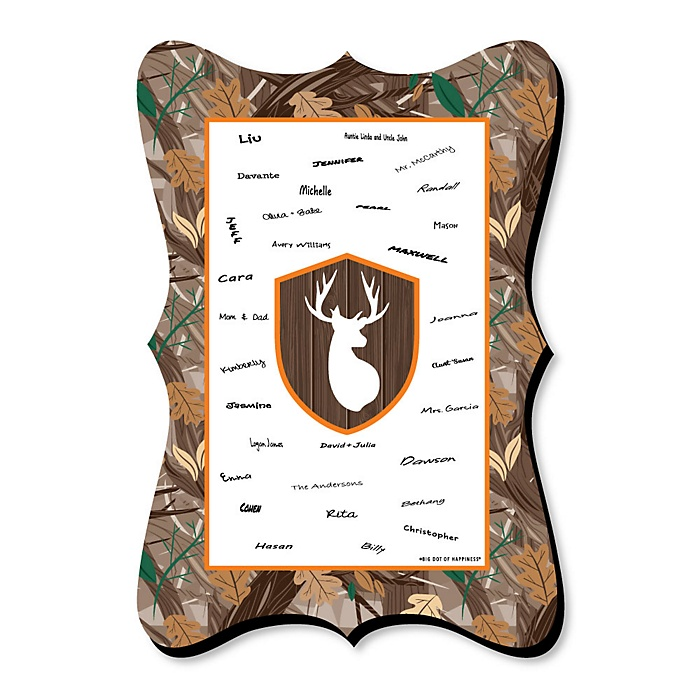 Gone Hunting - Unique Alternative Guest Book - Deer Hunting Camo Baby Shower or Birthday Party Signature Mat