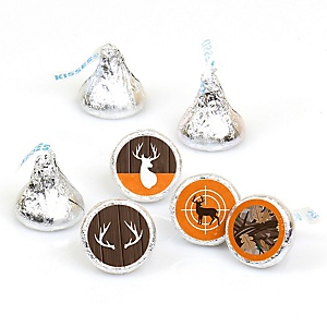 Gone Hunting - Deer Hunting Camo Party Round Candy Sticker Favors - Labels Fit Hershey's Kisses - 108 ct