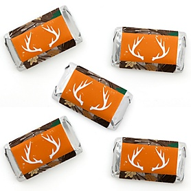 Gone Hunting - Mini Candy Bar Wrapper Stickers - Deer Hunting Camo Baby Shower or Birthday Party Small Favors - 40 Count