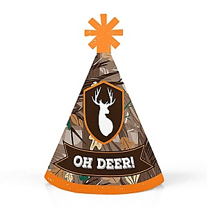 Gone Hunting - Personalized Mini Cone Deer Hunting Camo Party Hats - Small Little Party Hats - Set of 10