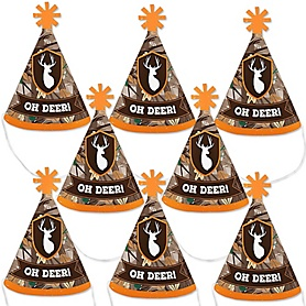 Gone Hunting - Mini Cone Deer Hunting Camo Party Hats - Small Little Party Hats - Set of 8