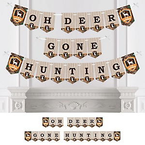 Gone Hunting - Deer Hunting Camo Baby Shower or Birthday Party Bunting Banner - Party Decorations - Oh Deer Gone Hunting
